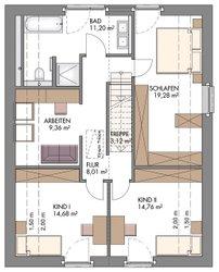 Vario-Haus 150 - Grundriss Dachgeschoss