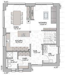 Pultdachhaus 130 - Grundriss Erdgeschoss