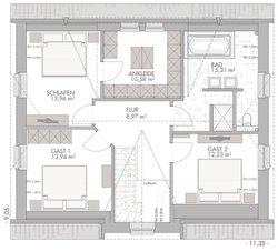 Friesenhaus 160 - Grundriss Obergeschoss